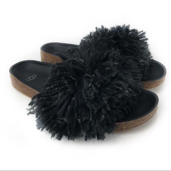 63e641a5ad3 UGG Black Cindi Yarn Pom Sandals!